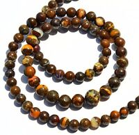 """83Cts. Natural Australian Boulder Opal Flashy Fire 4-7MM Round Bead Necklace 18"""""""