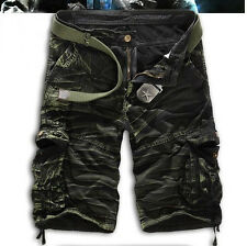 Mens Cotton Casual Sports Capri Pants Trousers Military Army Cargo Shorts