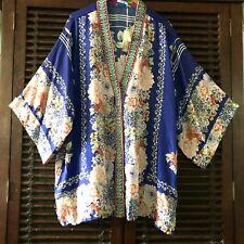 1X NWT SILK Johnny Was Kimono Embroidered W/ Snaps Tunic Blouse STUNNING!