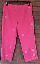 RQT Cropped Pants Size 12 Hot Pink Floral Bright Unique Capri Bottom Side Zipper