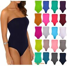 BILadies Women's Sleeveless Boob Tube Plain Bandeau Bodysuit Leotard Top 8-22