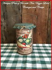 Antique PRIMITIVE VTG Pantry Tin & Copy of a SEED CATALOG LABEL Store Display
