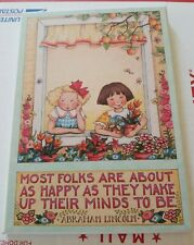 "Me Mary Engelbreit Plaque Lincoln Quote ""Most Folks"" Colorplak Me122"