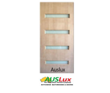 Solid Timber Horizontal 4 glass panel Entry House Door Many Sizes