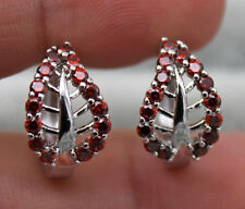 18K White Gold Filled - Hollow Leaf Ruby Topaz Zircon Party Hoop Gems Earrings