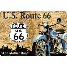 Route 66 Motorbike / Map embossed metal sign 300mm x 200mm (na)