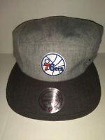 MITCHELL & NESS NBA PHILADELPHIA 76ERS ADJUSTABLE FIT SNAPBACK HAT CAP GREY NEW