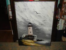 Lighthouse Original Painting By Parker Oil On Canvas Artwork Ocean View-Nautica