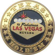 "Poker Card Guard ""LAS VEGAS"" 24K GOLD PLATED"