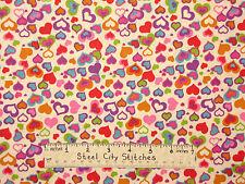 Valentine Heart Fabric - Crazy Hearts Romance Love Be Mine Multi Color - Yard