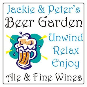 Personalised Beer Garden sign plaque 300mm x 300mm rigid 3mm IDEAL GIFT FOR HIM