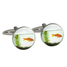 Goldfish Bowl Tank Fish Cufflinks Gift Boxed gold koi carp fish kawaii cute NEW