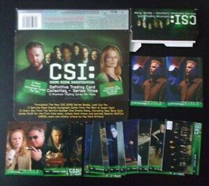 13 CSI trading cards, Series 1 CSI-PR1(x2) CI1, Series 3 PR2 P1-P9 empty box