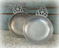 2 vintage Wilton RWP pewter porringer dishes bowls with handles