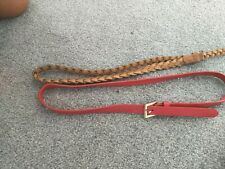 girls belts faux leather nude plait.   And faux red leather.      two belts 7-12