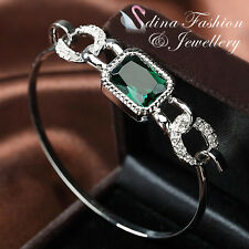 18K White Gold GP Made With Swarovski Crystal Radiant Cut Linked Emerald Bangle