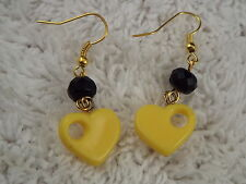Goldtone Yellow Beart Black Bead Pierced Earrings (D27)