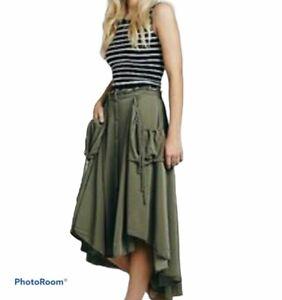 Free People Womens Cargo Skirt Hi Low Hem Boho Skirt Size Medium Pockets