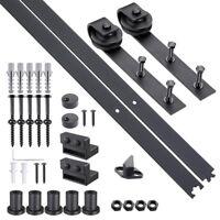 6 FT Carbon Steel Sliding Barn Wood Door Hardware Track Roller Kit Set Black