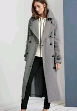 New Next Coat Black & White Gingham Check Long Mac Trench Jacket Size 12 RRP £90