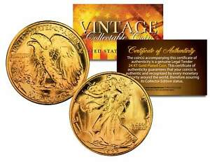 1916-1947 WALKING LIBERTY SILVER Half Dollar Coin 24K GOLD Plated w/ Certificate