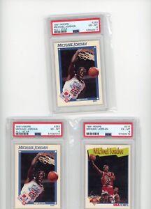 (3) Card Lot 1991 NBA Hoops MICHAEL JORDAN All-Star Milestones PSA 6 Graded