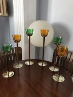 Vintage Walnut Candle Holders Mid Century Gold Green Amber Glass Votive MCM