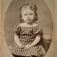 Antique CDV Photo Adorable Little Girl Curly Hair ID Sybil Nash Janesville WI