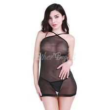 Women Sexy Lady Lingerie Mesh Mini Dress Lingeries G-string Intimates Nightwear