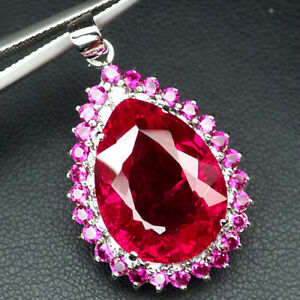 TOPAZ PLATINUM PINK PEAR 20.50 CT.SAPP RUBY 925 STERLING SILVER PENDANT JEWELRY