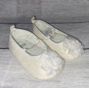 Carter's Baby Girl Ivory Sparkle Floral Pom-Pom Mary Jane Shoes Size 9-12 Months