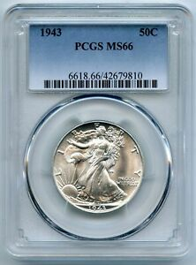 1943 Walking Liberty Half Dollar PCGS MS66 Certified - Philadelphia Mint BQ720