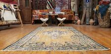 "Bohemian Vintage 1940-1950's Muted Natural Dye,Wool Pile Oushak Rug 4'x6'9"""