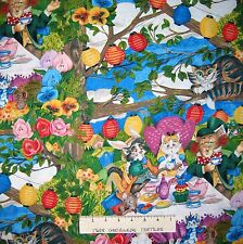 Meowice Fabric - Alice in Wonderland Cat Scene Allover - Hoffman YARD