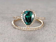 14k gold over 2ct pear shape green emerald bridal ring set engagement weds band