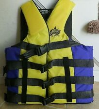 New listing Stearns Wave Breaker Adult Large Life Jacket Yellow & Purple Ski Vest Type 3
