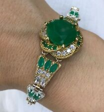 Turkish Handmade Jewelry Sterling Silver 925 Emerald Bracelet Bangle Cuff