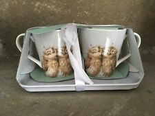 Wrendale Designs Owl two mugs and tray gift set
