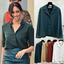 Meghan Markle Emerald Green Faux Silk Texture Loose Shirt V Neck Blouse Top