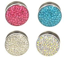 PAIR - SPARKLING CRYSTAL GEM TOP EAR PLUGS STEEL SCREW-FIT GAUGES (4 Colors) 2G+
