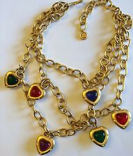 Givenchy 1980's HEART Charm Necklace Crystals Gripoix Runway Couture