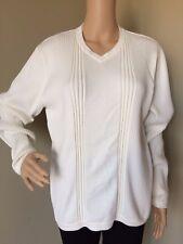 Cezani Supima Cotton Sweater Pullover V Neck Long Sleeve Textured Career Medium