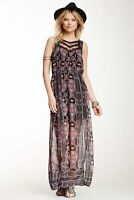 Free People Moroccan Lace Bib Printed Hi Lo Sheer Hem Maxi Dress Size 2 Black