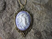 MERMAID ON PURPLE CAMEO ANTIQUED GOLD TONE PENDANT NECKLACE - VACATION - CRUISE