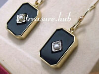 Genuine REAL 9ct SOLID Yellow Gold Natural ONYX & Pearl Mourning Earrings