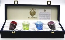 Outstanding FABERGE Multicolored Crystal SHOT GLASSES Art Glass w Original Box