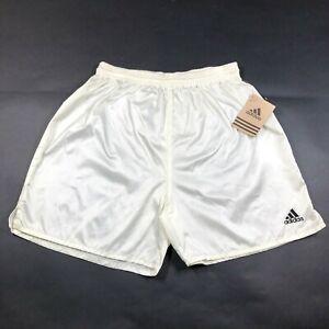 Vintage Adidas Genoa 2 Youth Boys XL Shiny Off White Yellow Soccer Shorts NWT