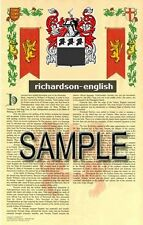 RICHARDSON Armorial Name History - Coat of Arms - Family Crest GIFT! 11x17