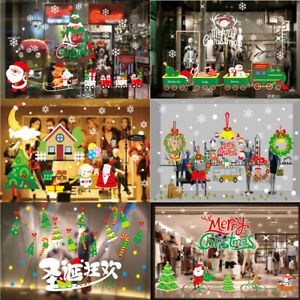 Christmas Decorations Santa Claus Elk Electrostatic Glass Stickers Window Large