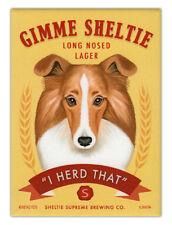 Retro Dogs Refrigerator Magnets - Sheltie Lager (Shetland Sheepdog)